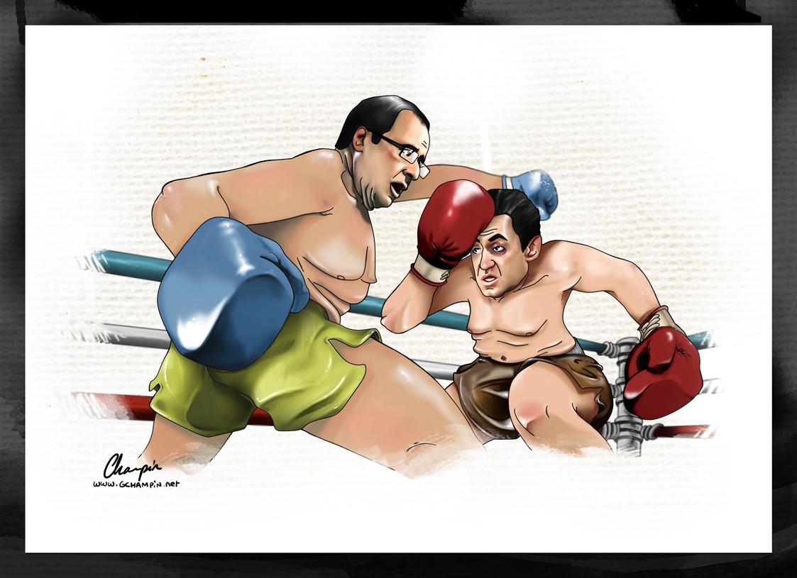 Sarkozy Hollande Débat présidentiel Boxe