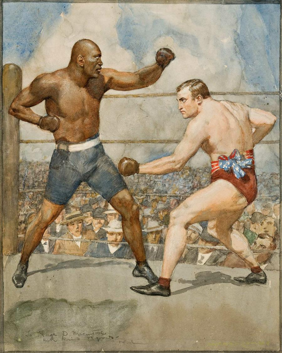 The Jack Johnson and Tommy Burns Fight, 1908, by Norman Lindsay