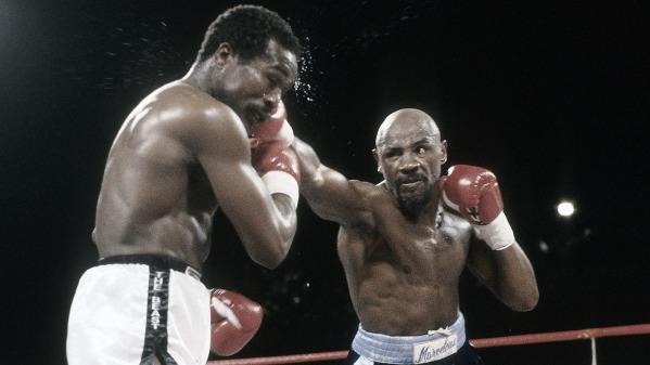 Hagler vs Mugabi, titres WBC/WBA/IBF des Moyens en jeu - Victoire d'Hagler par KO au 11ème - 10 mars 1986 - FOS/Getty