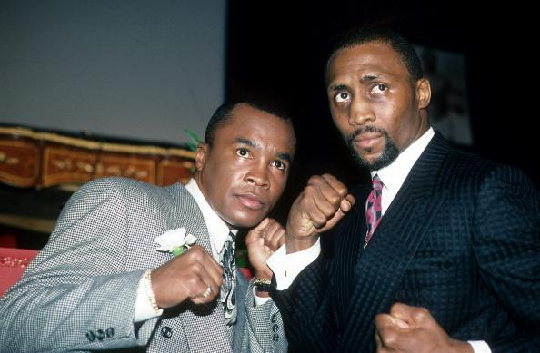 Sugar Ray Leonard et Tommy Hearns à NY - Février 1989 - The Ring Magazine (Getty Images)