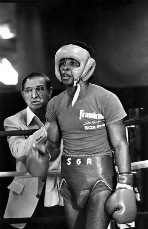 Ray Leonard et Angelo Dundee lors d'un sparring - 1980 - Nouvelle Orléans - Classic Photo (AP)