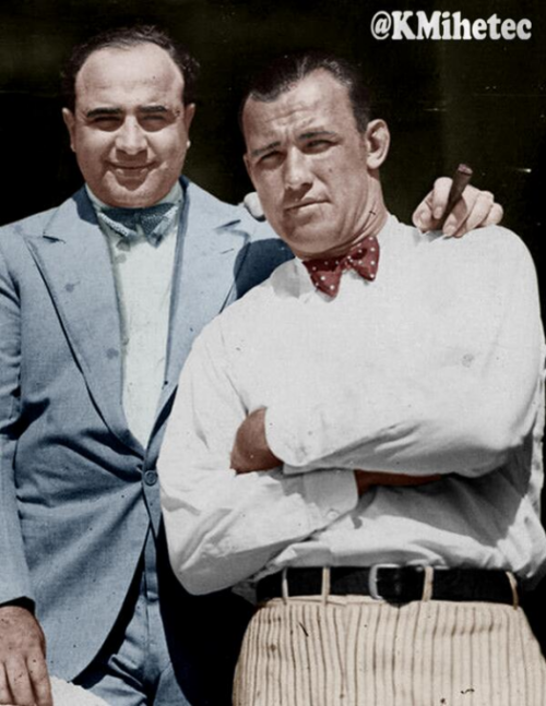 Al Capone et Jack Sharkey - Classic Photo Colour Remastered by @KMihetec