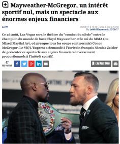 J'ai déboité Mayweather vs McGregor pour Le Vif/L'Express